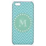 Teal Chevron Pattern | Mint Green Monogram iPhone 5C Case