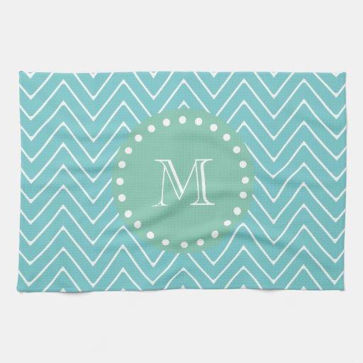 Teal Chevron Pattern | Mint Green Monogram Towels