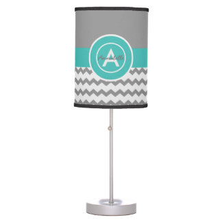 Teal Chevron Pattern Table Lamp