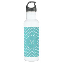 Teal Chevron Pattern | Teal Monogram Stainless Steel Water Bottle