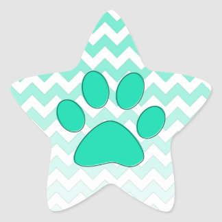 Teal Chevron Paw Zig Zag Monogram Star Sticker