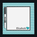 "Teal Chevron Personalized 8&quot; Dry-Erase Board<br><div class=""desc"">Cute &amp; convenient 8&quot; x 8&quot; dry-erase board with a teal &amp; white chevron zigzag pattern,  personalized with your name or custom text,  accented with a heart.</div>"