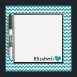 """Teal Chevron Personalized 8&quot; Dry-Erase Board<br><div class=""""desc"""">Cute &amp; convenient 8&quot; x 8&quot; dry-erase board with a teal &amp; white chevron zigzag pattern,  personalized with your name or custom text,  accented with a heart.</div>"""