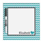 Teal Chevron Personalized 8&quot; Dry-Erase Board<br><div class='desc'>Cute &amp; convenient 8&quot; x 8&quot; dry-erase board with a teal &amp; white chevron zigzag pattern,  personalized with your name or custom text,  accented with a heart.</div>