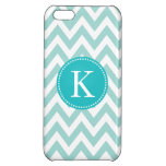 Teal Chevron Personalized Monogram Cover For iPhone 5C