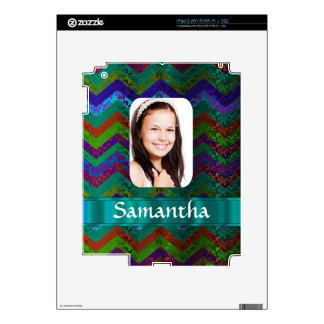 Teal chevron personalized photo template decal for the iPad 2