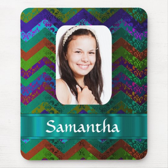 Teal chevron personalized photo template mouse pad