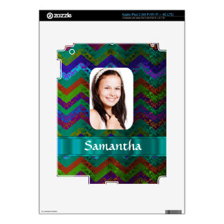 Teal chevron personalized photo template skin for iPad 3