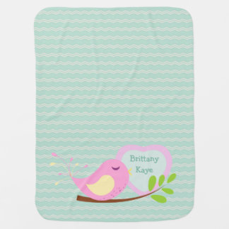 Teal Chevron Pink Bird Personalized Swaddle Blanket