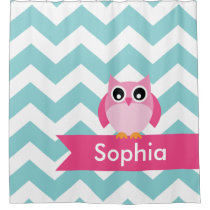 Teal Chevron Pink Owl Kids Personalized Shower Curtain