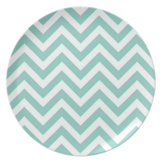 Teal Chevron Plate