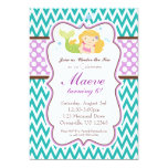 Teal Chevron, Purple Dots Blonde Mermaid Birthday 5x7 Paper Invitation Card