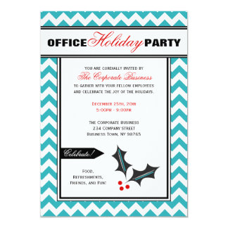 Teal Chevron Red Office Holiday Party Invitations