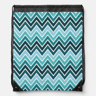 Teal Chevron Stripe Drawstring Bag