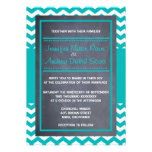 Teal Chevron Wedding Invitation