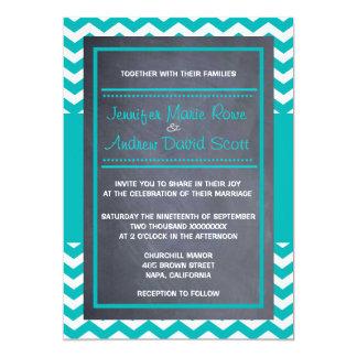 "Teal Chevron Wedding Invitation 5"" X 7"" Invitation Card"