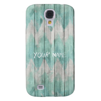 Teal Chevron Woodplanks Samsung Galaxy S4 Cover