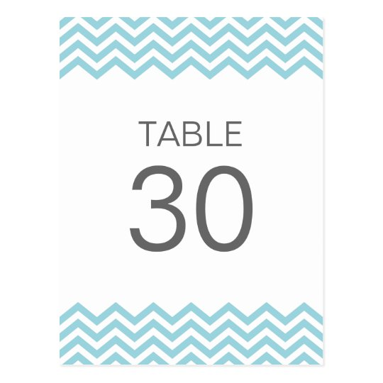 Teal chevron (zigzag) pattern table number card