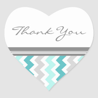 Teal Chevrons Thank You Wedding Envelope Seals
