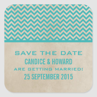Teal Chic Chevron Save the Date Stickers