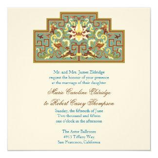 Teal Chocolate Botanical Wedding Invitations
