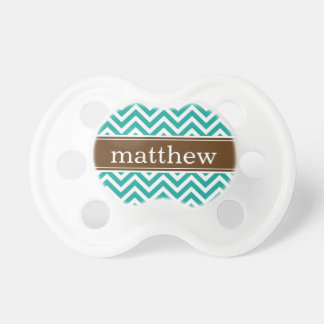 Teal & Chocolate Brown Chevron & Monogram Pacifier