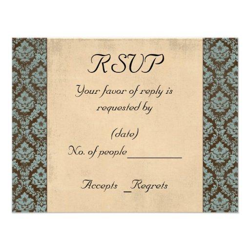 Teal & Chocolate Damask RSVP Card Template Custom Invitation