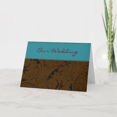 Teal Chocolate Flourish Wedding Invitation Card by LoisCollis