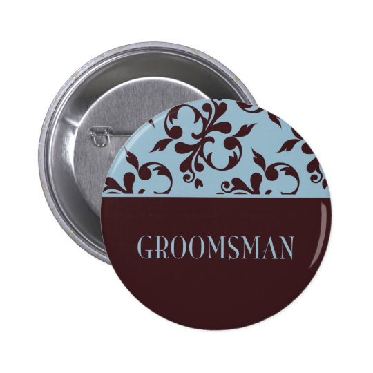 Teal & Chocolate Groomsmen Button