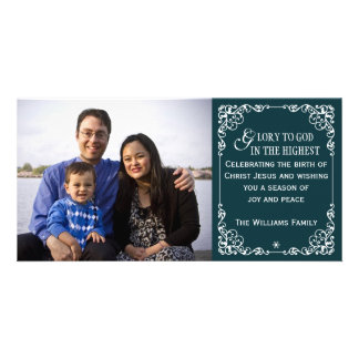 Teal Christian Vintage Christmas Photo Cards