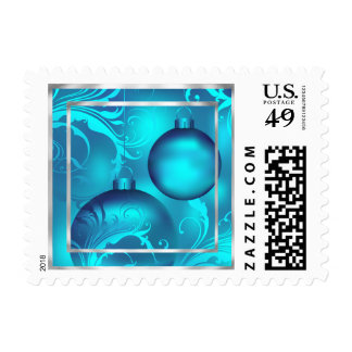 Teal Christmas Ornaments Stamp