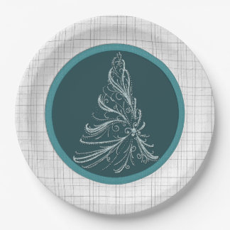 Teal Christmas Tree 9 Inch Paper Plate