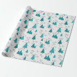 Teal Christmas Trees Snowflakes Wrapping Paper at Zazzle