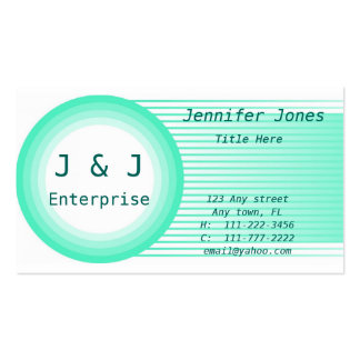 Teal Circle and Stripes Business Card