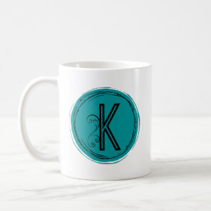 Teal Circle Monogrammed Letter K With Swirl Coffee Mug