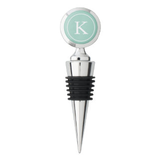 Teal Circle with White Monogram Initial Wine Stopper