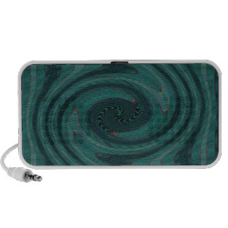 teal circular abstract notebook speakers
