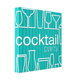 Teal cocktail party canvas print