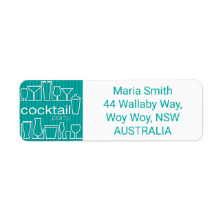 Teal cocktail party label