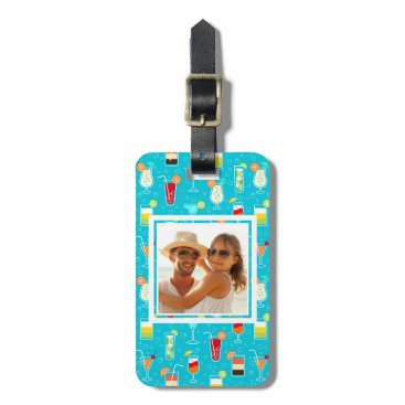 Beach Themed Teal Cocktail Pattern | Add Your Photo Bag Tag
