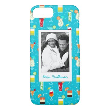 Beach Themed Teal Cocktail Pattern | Add Your Photo iPhone 7 Case