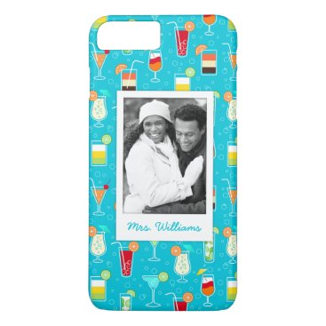Beach Themed Teal Cocktail Pattern | Add Your Photo iPhone 7 Plus Case