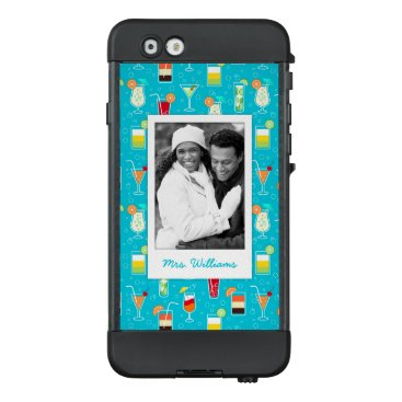 Beach Themed Teal Cocktail Pattern | Add Your Photo LifeProof® NÜÜD® iPhone 6 Case