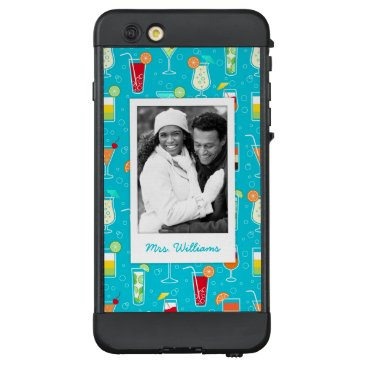 Beach Themed Teal Cocktail Pattern | Add Your Photo LifeProof NÜÜD iPhone 6 Plus Case