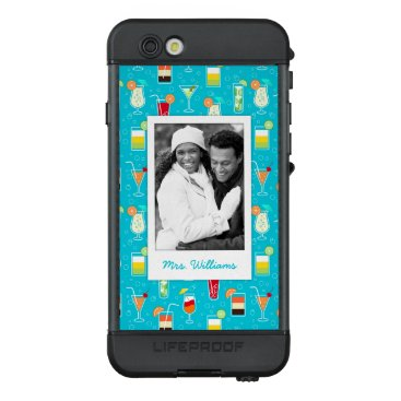 Beach Themed Teal Cocktail Pattern | Add Your Photo LifeProof® NÜÜD® iPhone 6s Case