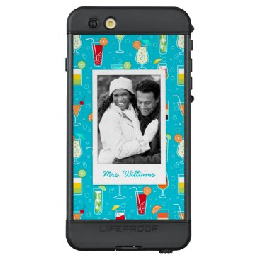 Beach Themed Teal Cocktail Pattern | Add Your Photo LifeProof NÜÜD iPhone 6s Plus Case