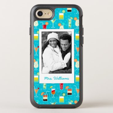 Beach Themed Teal Cocktail Pattern | Add Your Photo OtterBox Symmetry iPhone 7 Case
