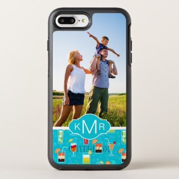 Beach Themed Teal Cocktail Pattern | Add Your Photo OtterBox Symmetry iPhone 7 Plus Case