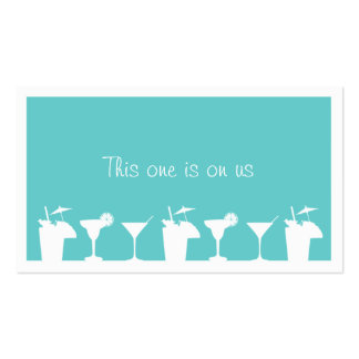 Teal cocktail wedding event custom drink ticket Double-Sided standard business cards (Pack of 100)