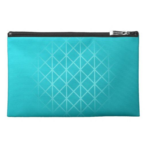 Teal Color Background Design with Grid Pattern. Travel Accessories Bag